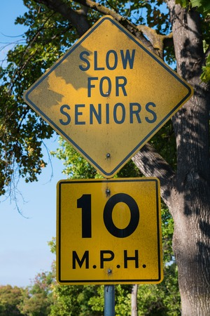 mph: Slow For Seniors 10 MPH road sign Stock Photo