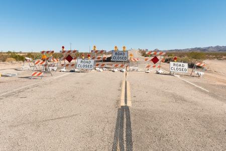 Road closure on Route 66 near Essex, California