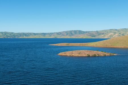 luis: High water levels in San Luis Reservoir, San Joaquin Valley, California