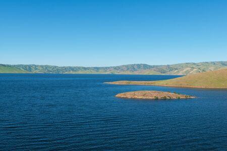 joaquin: High water levels in San Luis Reservoir, San Joaquin Valley, California
