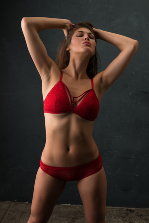 Beautiful petite brunette dressed in red lingerie Banco de Imagens