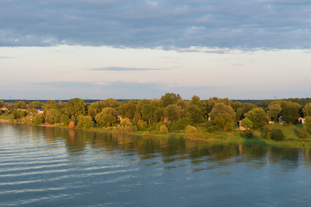 Fall colors along the St. Lawrence River, Pointe-Marie, Quebec, Canada