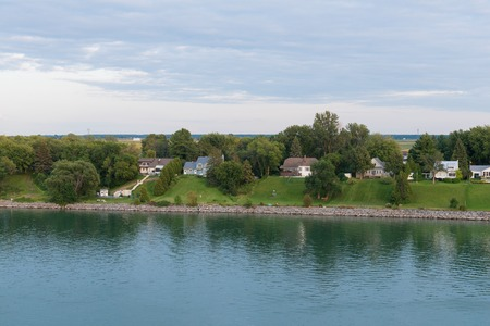 Homes along the St. Lawrence River, Pointe-Marie, Quebec, Canada