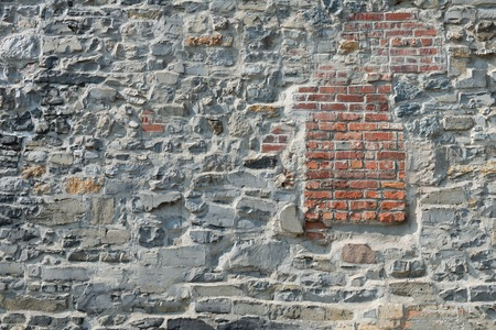 Old stone and brick wall, Montreal, Quebec, Canada