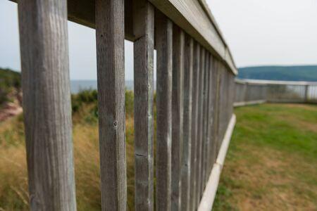 Wooden fence, Cape Breton Highlands, Ingonish, Cape Breton Island, Nova Scotia, Canada