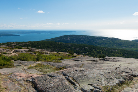 Looking down from the summit of Cadillac Mountain, Acadia National Park, Bar Harbor, Mount Desert Island, Maine