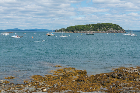 Looking out from the shore, Bar Harbor, Mount Desert Island, Maine Stock Photo