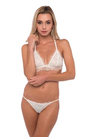 Beautiful petite Czech blonde in white lingerie