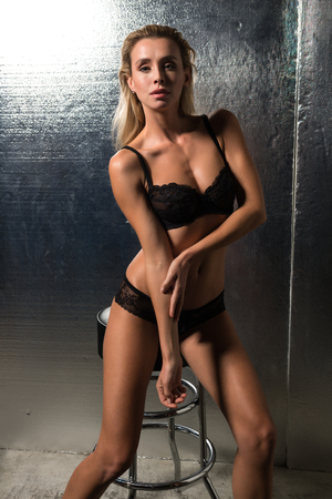undergarment: Beautiful petite Czech blonde in black lingerie