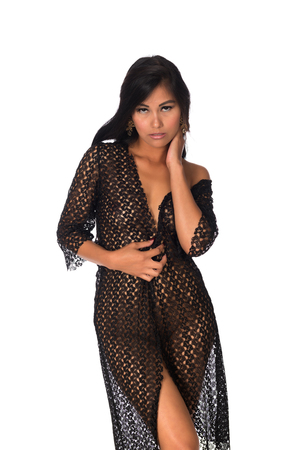 Beautiful petite Filipino woman nude under a black lace wrap