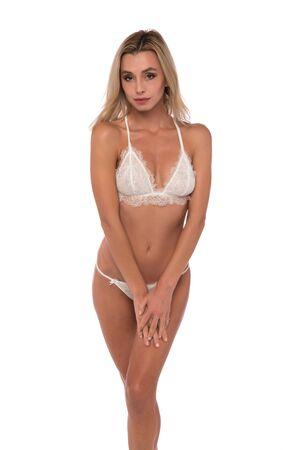 Beautiful petite Czech blonde in white lingerie