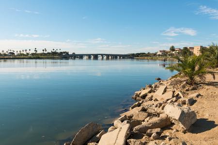 Bridge over San Diego Bay, Liberty Station, San Diego, California Stock Photo