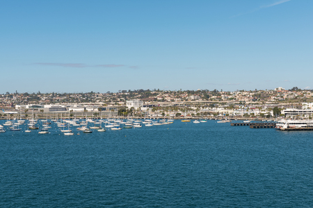 Sailboats along the shore of San Diego Bay, San Diego, California