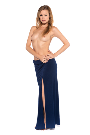 Tall slender blonde in a long blue gown Imagens