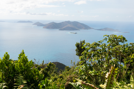 Jost Van Dyke Island from Sage Mountain, Tortola, British Virgin Islands Stockfoto