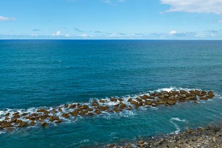 Stone breakwater, Old San Juan, Puerto Rico Stockfoto