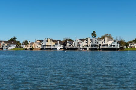 Waterfront homes on Seal Slough, San Mateo, California