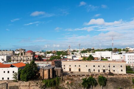 Architecture of downtown Santo Domingo from the Ozama River, Dominican Republic