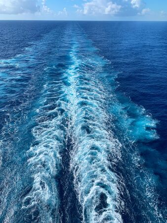 Wake behind a cruise ship in the Caribbean Sea