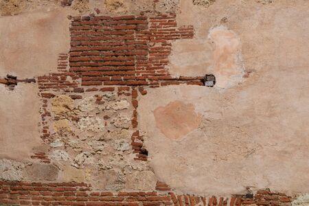 16th century brick and plaster wall, Catedral Primada de America, Santo Domingo, Dominical Republic
