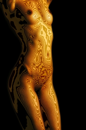 nudity woman: Golden naked female body on black background