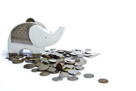 baht: Thai elephant and money