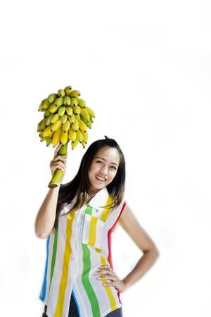 Thai lady hold bananas photo