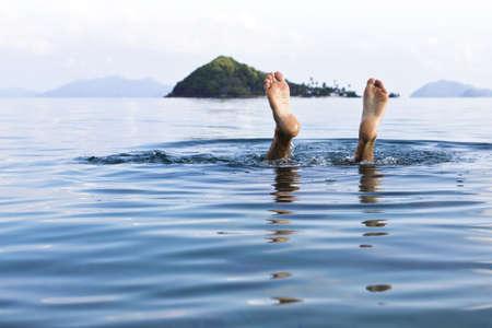 A European man diving underwater  at  Koh Mak, Trat, Thailand  Reklamní fotografie