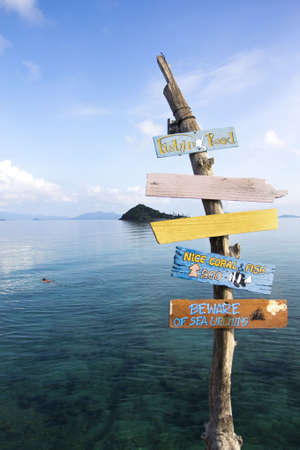 trad: A wooden sign for viewpoint for snorkeling at Koh Mak, Trad Thailand