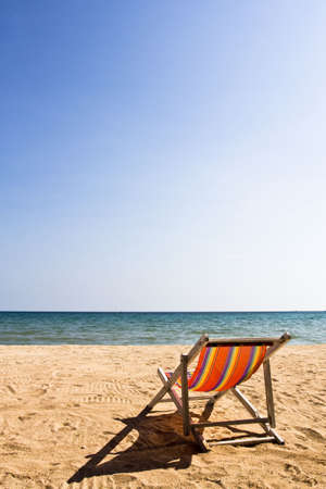 daybed: A deck-chair on the beach  at Koh Mak island, Trat, Thailand Stock Photo
