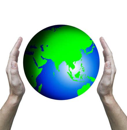 Hands hold globe  Stock Photo