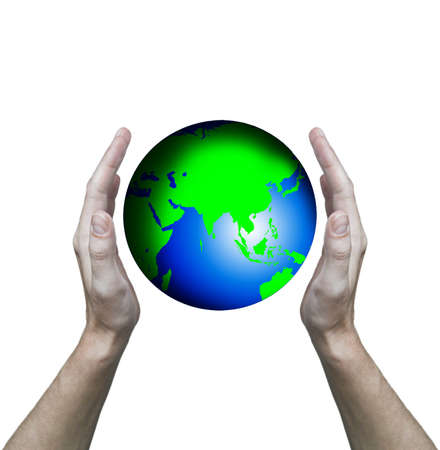 Hands hold globe  photo