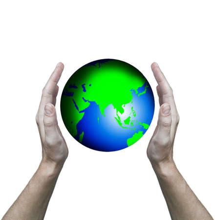 Hands hold globe  photo