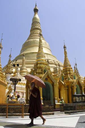 Burmese monk and Shwedagon pagoda