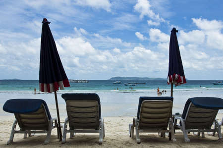 deck-chair at Had Tien beach Koh Larn island, Thailand Stock Photo - 13851255