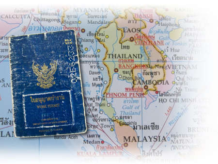 Map and Thailand work permit  photo