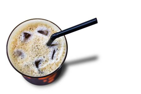 Ice coffee with black straw