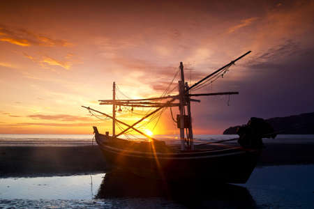 The boat in the morning at Pranburi Prachuab kirikarn  photo