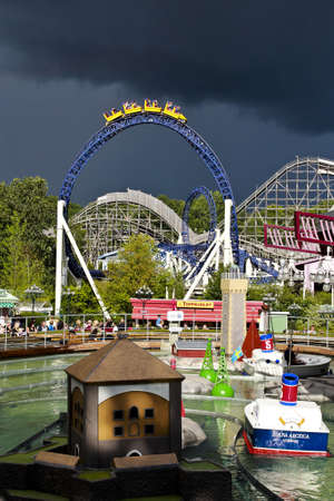 Sweden-8 August 2012  The Liseberg Funpark at Goterbrog with rainny and cloudy weather on summer time