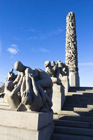 The famous rock sculpture park in Oslo Norway