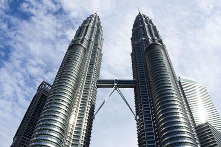 KUALA LUMPUR-10 October 2012   View of The Petronas Twin Towers on January 23, 2012 in Kuala Lumpur, Malaysia  Petronas are the tallest twin buildings in the world  451 9 m