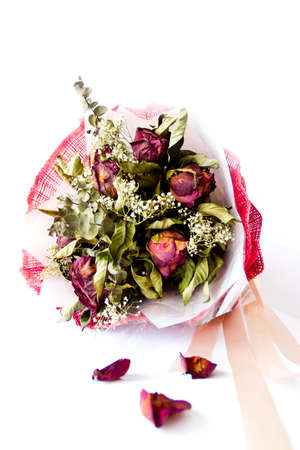 A bouquet of Dried Flowers from Valentine day Stock Photo