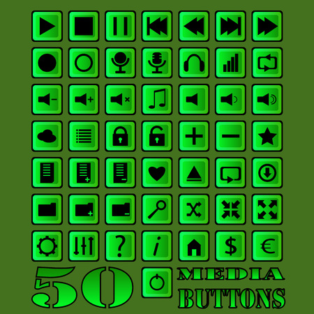 vector buttons: Fifty vector buttons for media player design