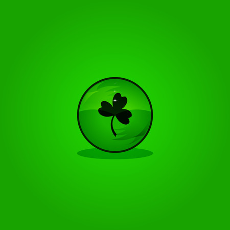 three leaf clover: Three Leaf Clover in sphere Illustration