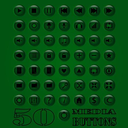 button set: Fifty media Button set. Vector eps 10