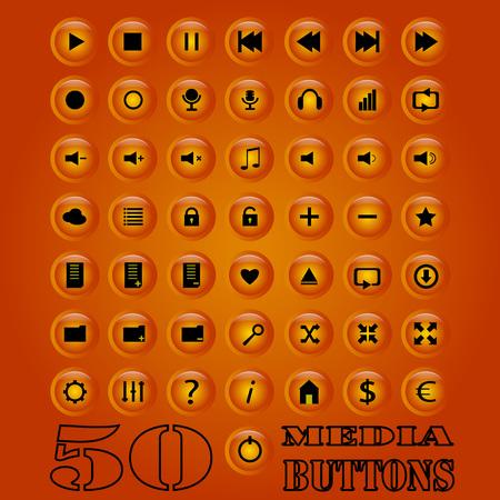 button set: Fifty media Button set.