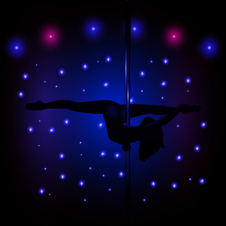 Sexy silhouette illustration of a female stripper in blue. Vector eps 10.