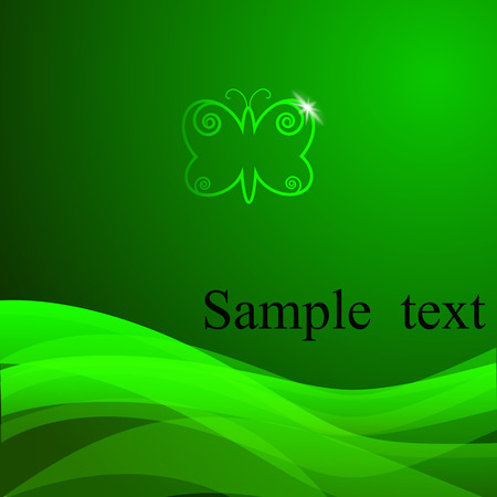 green butterfly: Vector green background with sample text. Abstract green butterfly. Perfect for invitations, card, announcement or greetings. Vector eps 10 Illustration