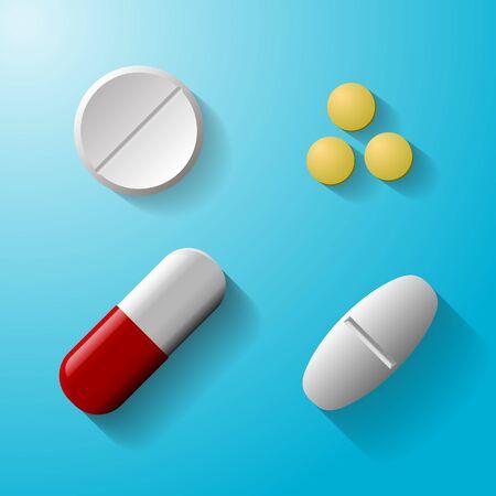 pastillas: conjunto de tabletas y p�ldoras ilustraci�n aislado sobre fondo azul. Ilustraci�n de EPS10 Vectores