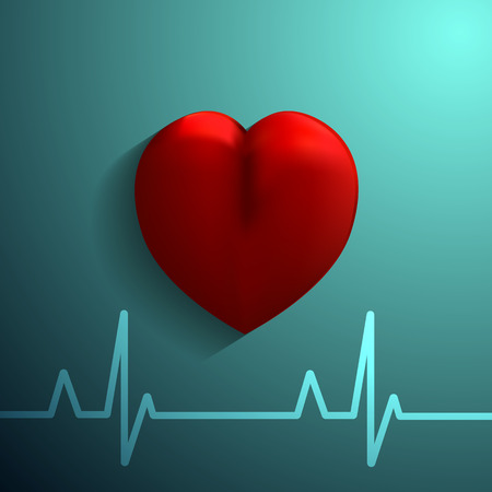 cordial: Healthy Heart  icon on blue background. Vector eps 10